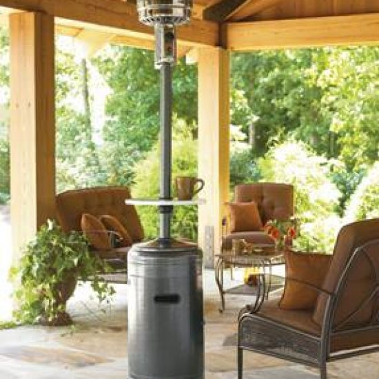 """87"""" Tall Hammered Silver Outdoor Patio Heater"""