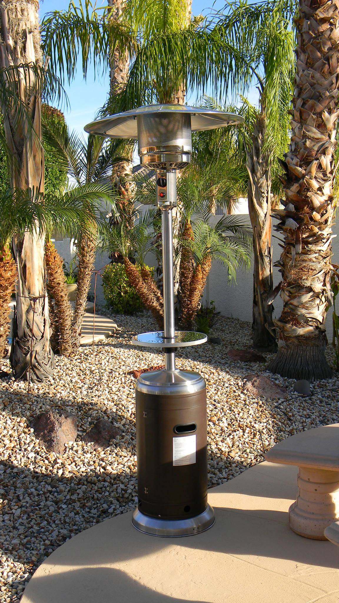 87 Tall Stainless Steel And Hammered Bronze Outdoor Patio Heater