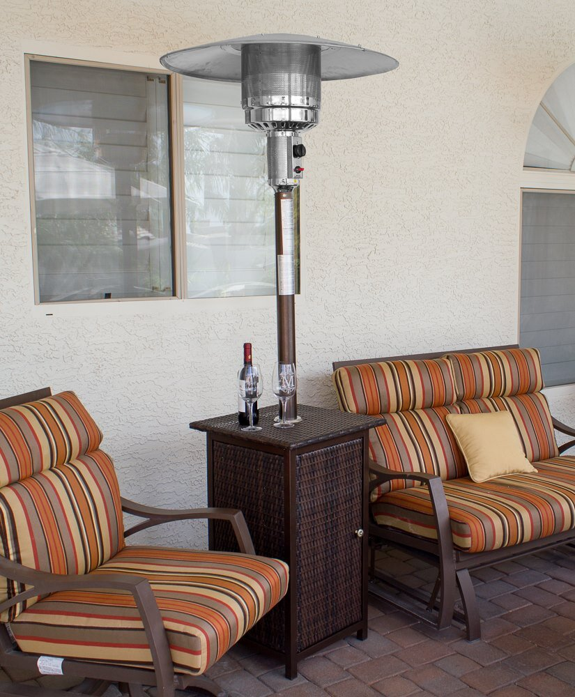 87 Tall Square Wicker Patio Heater With Table