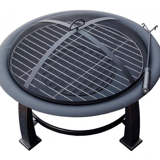 "30"" Wood Burning Firepit with Cooking Grate"