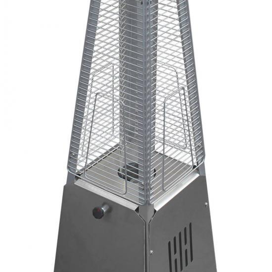 "39"" Tall Radiant Heat Glass Tube Outdoor Patio Heater (Stainless Steel)"