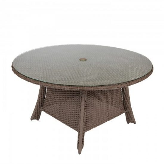 "Augusta Woven 54"" Round Dining Table With Glass Top"