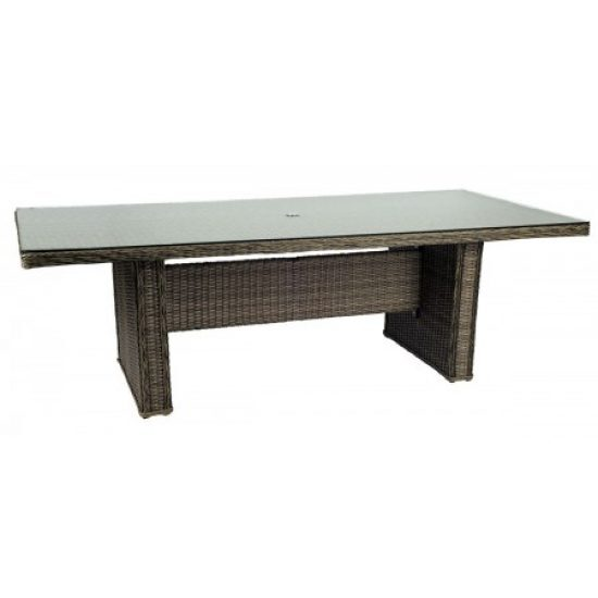 Bay Shore Rectangular Umbrella Table With Glass Top