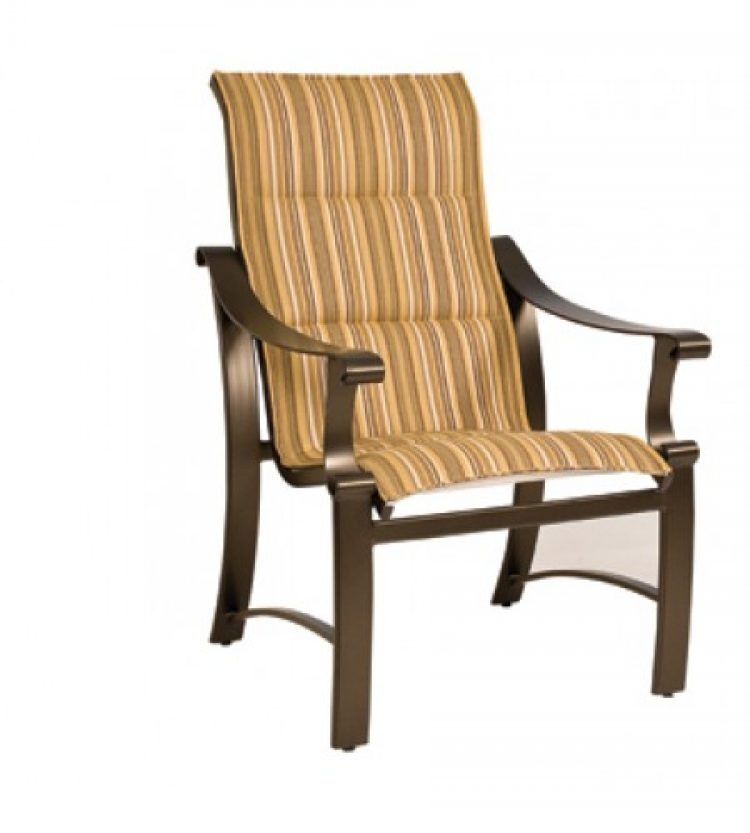 bungalow padded sling high back dining arm chair