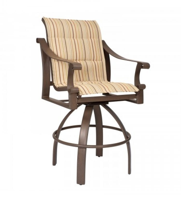 bungalow padded sling swivel counter stool