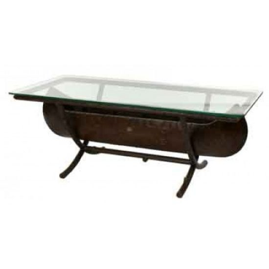 Chatham Run Canoe Coffee Table With Glass Top