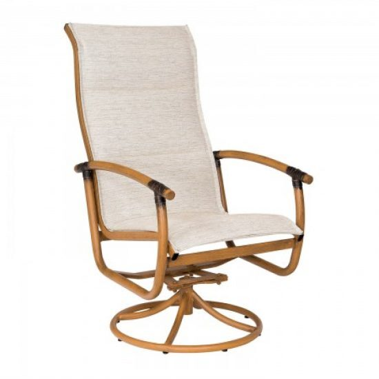 Glade Isle Padded Sling High Back Swivel Rocker Dining Arm Chair