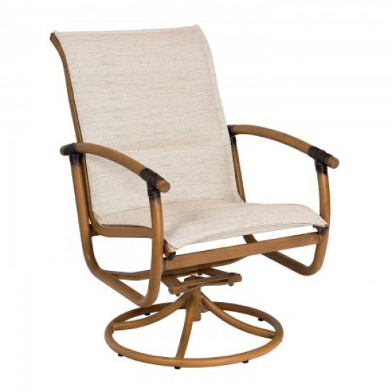 Glade Isle Padded Sling Swivel Rocker Dining Arm Chair