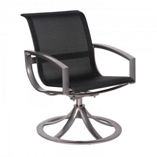 Metropolis Sling Swivel Dining Arm Chair
