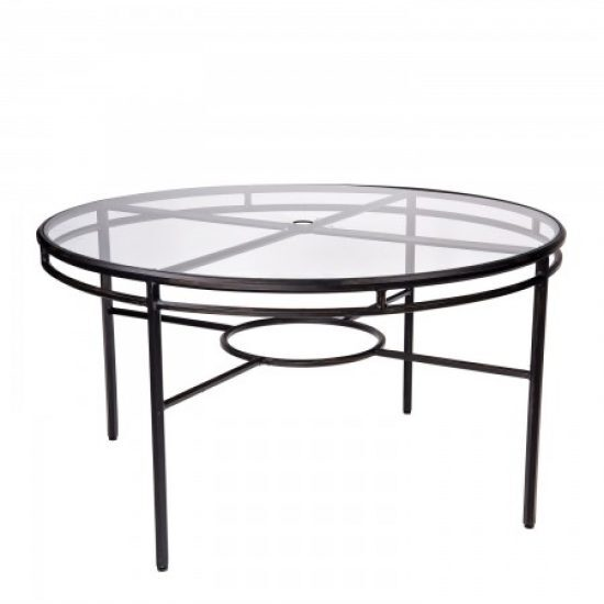 Nob Hill Round Umbrella Table With Glass Top