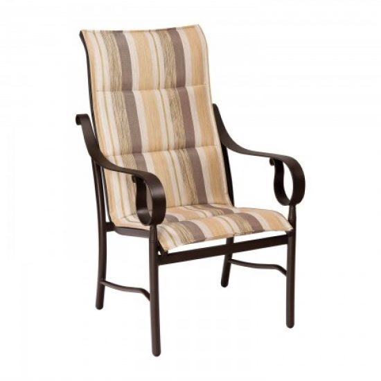 Ridgecrest Padded Sling High-Back Dining Arm Chair