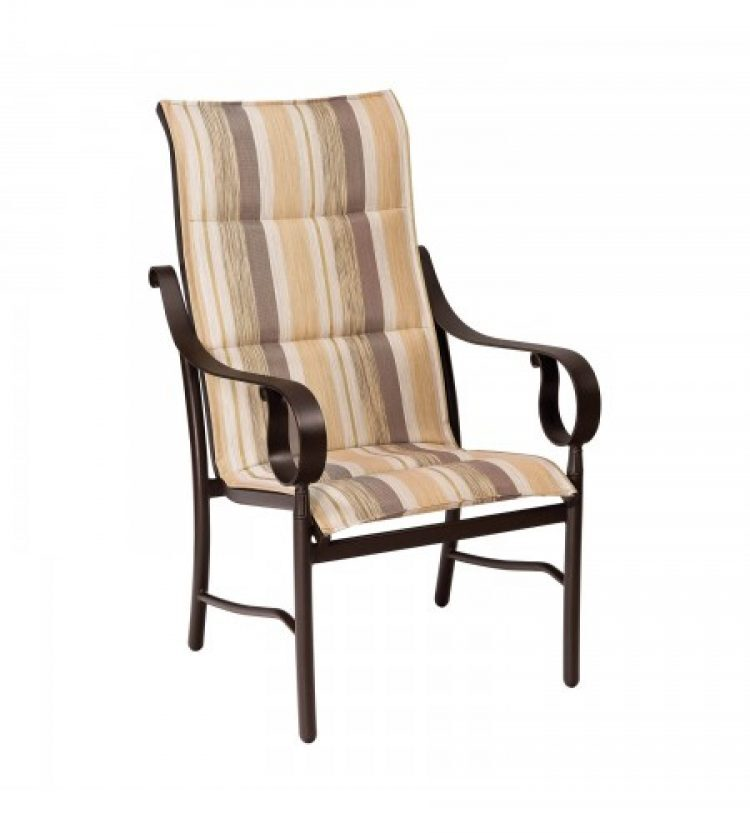 ridgecrest padded sling high back dining arm chair