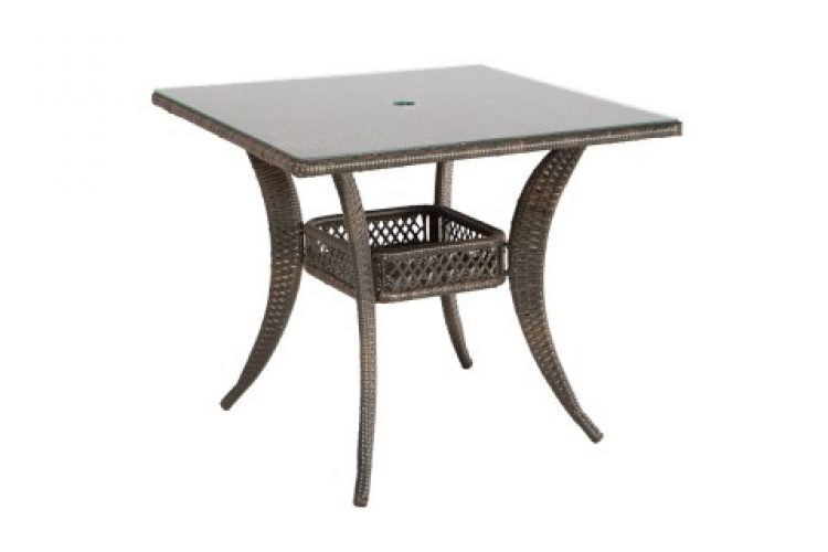 tutto 36 square dining table with umbrella hole