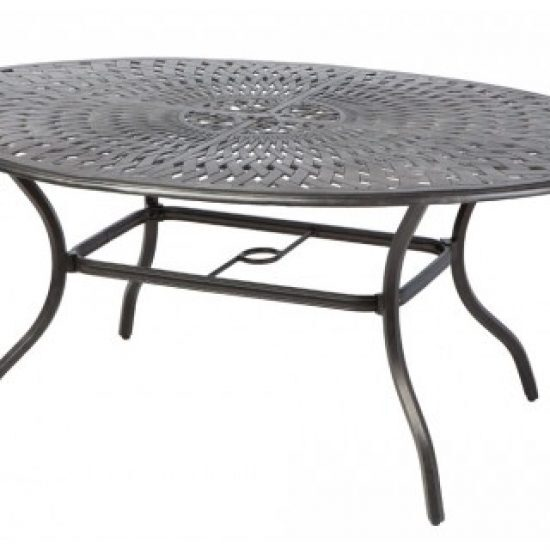 "BAY LEAF 70"" X 50"" EGG OVAL DINING TABLE W/ UMB. HOLE"