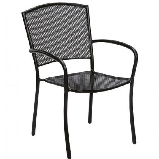 Café Series Albion Textured Black Arm Chair - Stackable