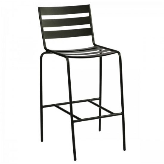 Café Series Metro Textured Black Stationary Bar Stool