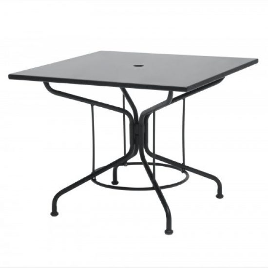 "Café Series Textured Black 36"" Square Solid Top Umbrella Table"