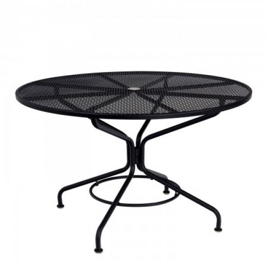 "Café Series Textured Black Contract + 48"" Round Mesh Top Umbrella Table"