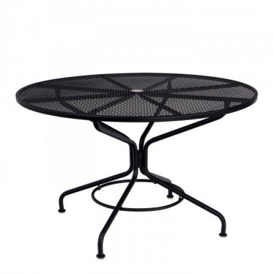 "Café Series Textured Black Contract + 48"" Round Mesh Top Umbrella Table"