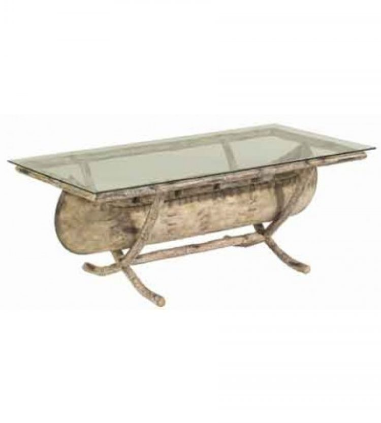river run canoe coffee table with glass top – the deck company llc