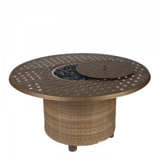 "Saddleback Chat Height Fire Table With 48"" Round Thatch Top"