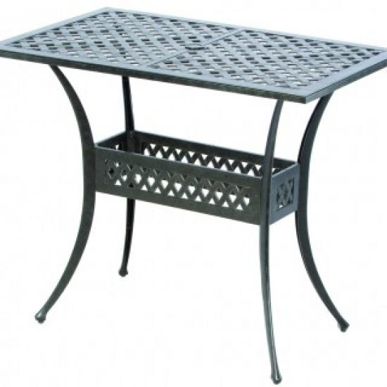 "WEAVE INJECTION 48"" RECTANGULAR GATHERING TABLE WITH UMBRELLA HOLE"