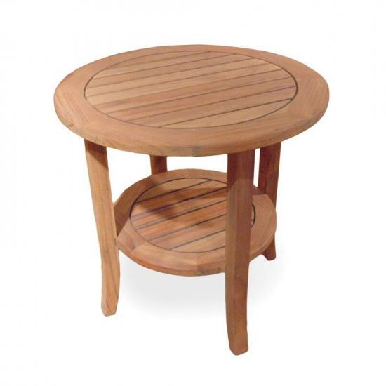 "UNIVERSAL TEAK 24"" ROUND TAPERED LEG END TABLE"