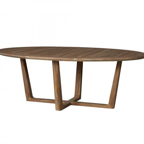 "UNIVERSAL TEAK 84"" OVAL SLED BASE DINING TABLE"