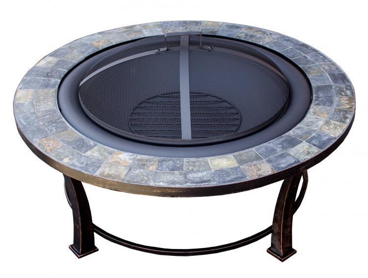 40″ Round Slate Top Wood Burning Firepit 1