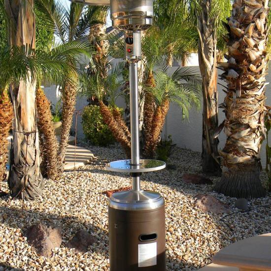 """87"""" Tall Stainless Steel and Hammered Bronze Outdoor Patio Heater"""
