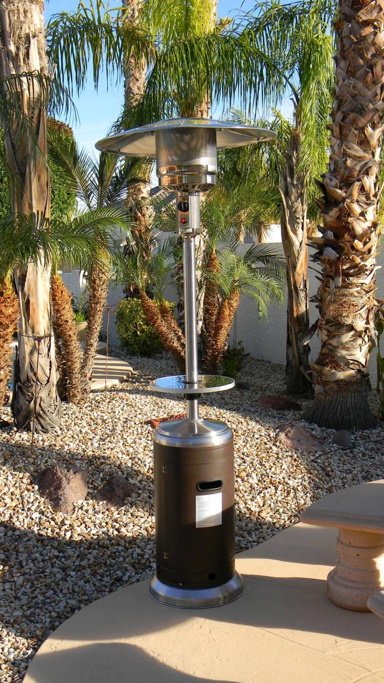 87″ Tall Stainless Steel and Hammered Bronze Outdoor Patio Heater 1