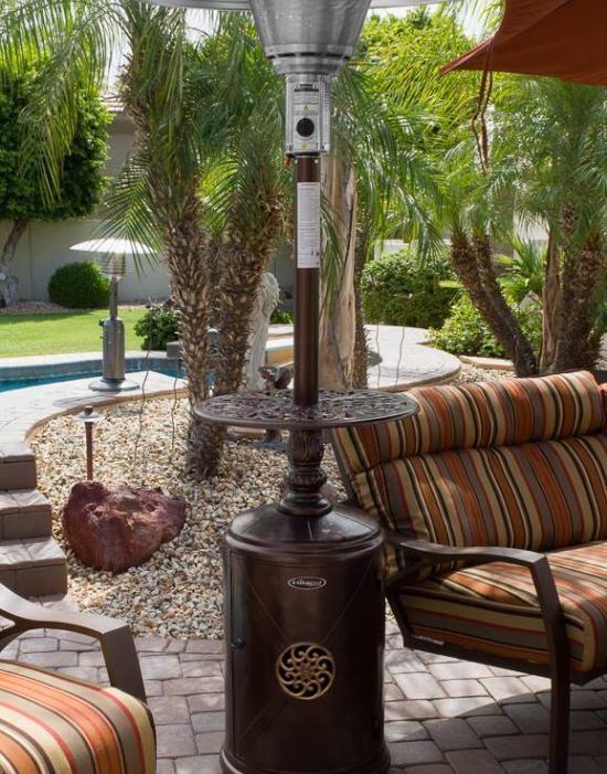 """87"""" Hammered Bronze Cast Aluminum Patio Heater"""