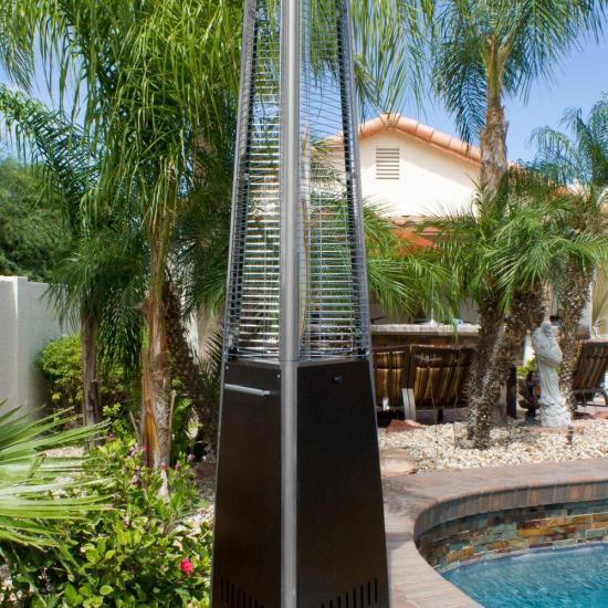 """94"""" Tall Radiant Heat Glass Tube Patio Heater Commercial Triangle (Bronze)"""