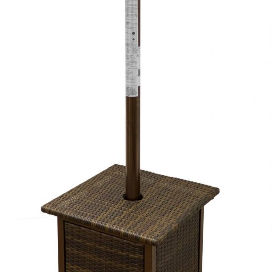 """87"""" Tall Square Wicker Patio Heater with Table"""