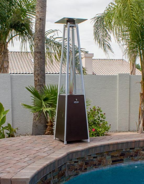 """91"""" Tall Radiant Heat Glass Tube Patio Heater (Hammered Bronze)"""