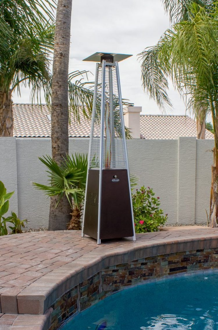 91″ Tall Radiant Heat Glass Tube Patio Heater (Hammered Bronze) 1