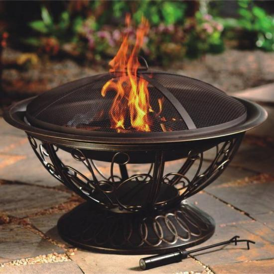 """30"""" Wood Burning Firepit with Scroll Design"""