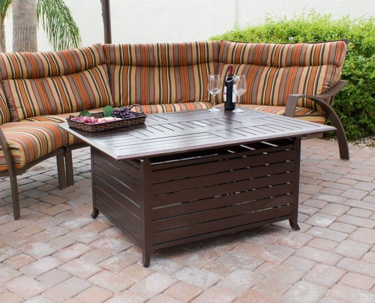 Rectangle Aluminum Slatted Fire Pit With Stainless Steel Propane Burner 1