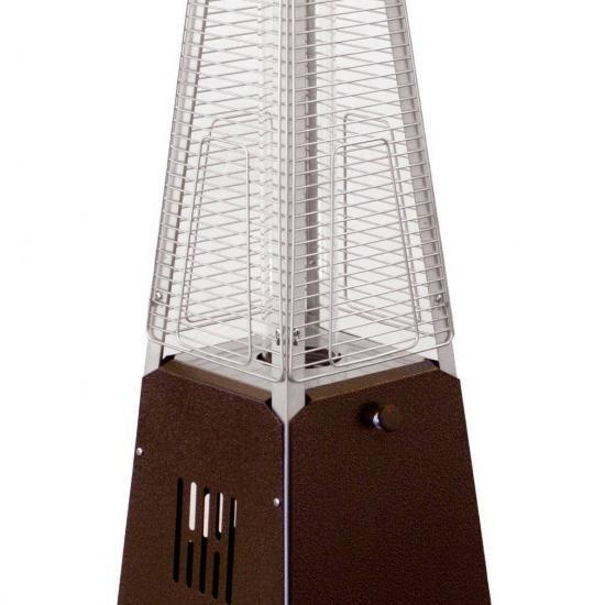 """39"""" Tall Radiant Heat Glass Tube Outdoor Patio Heater (Hammered Bronze)"""
