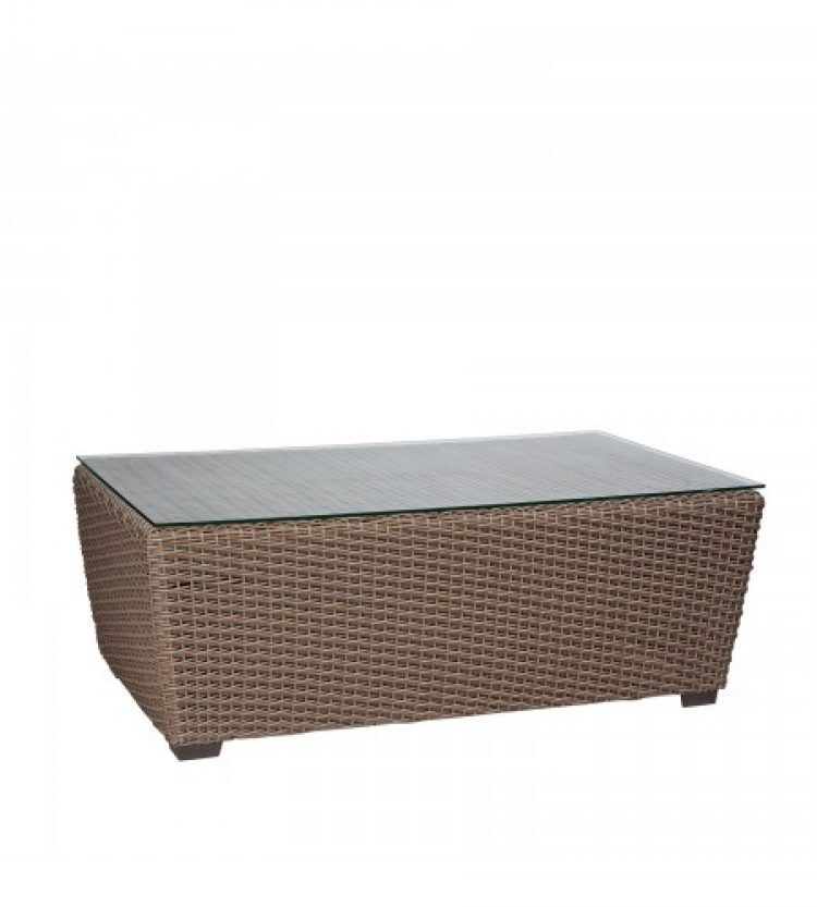 augusta woven coffee table with glass top