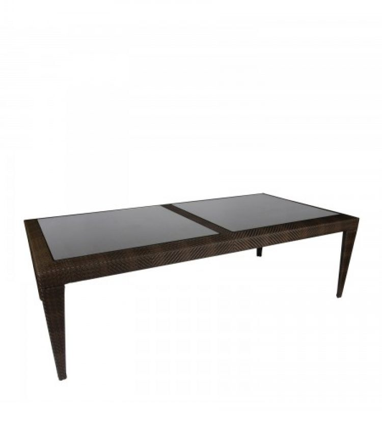 bali rectangular dining table with inset glass