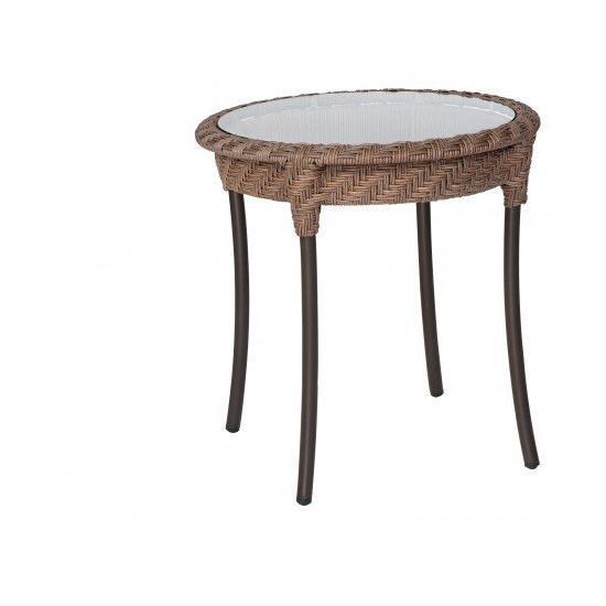 "Barlow 22"" Round End Table - Bronzed Teak"