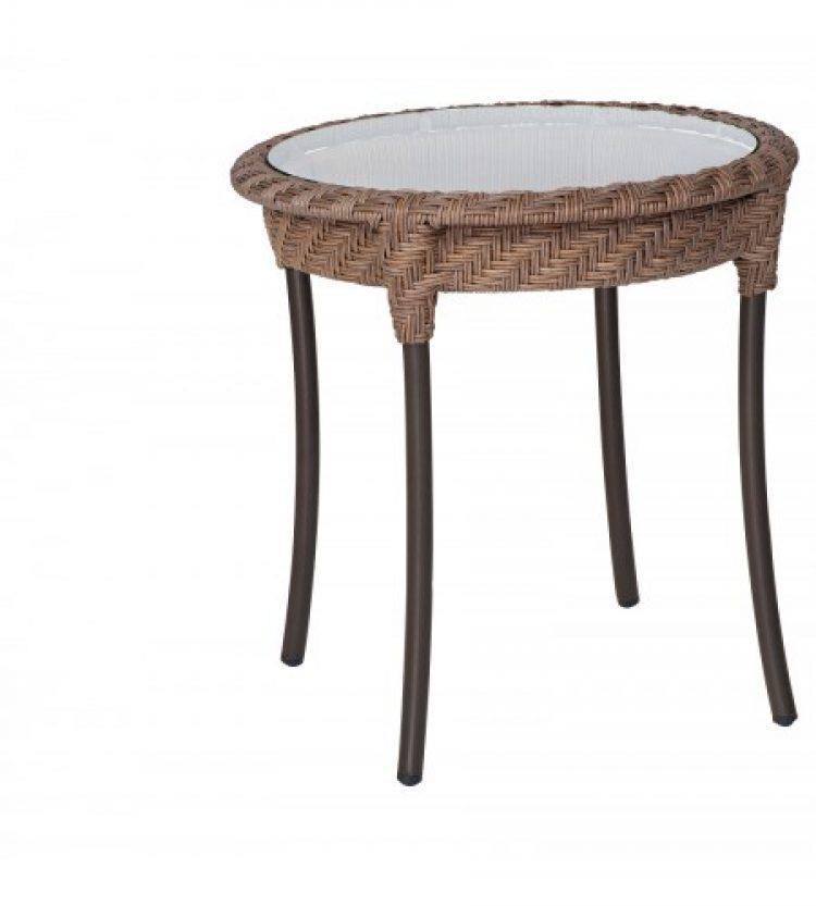 barlow 22 round end table bronzed teak