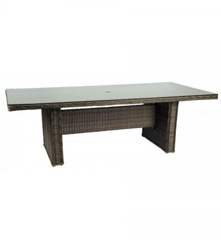 bay shore rectangular umbrella table with glass top