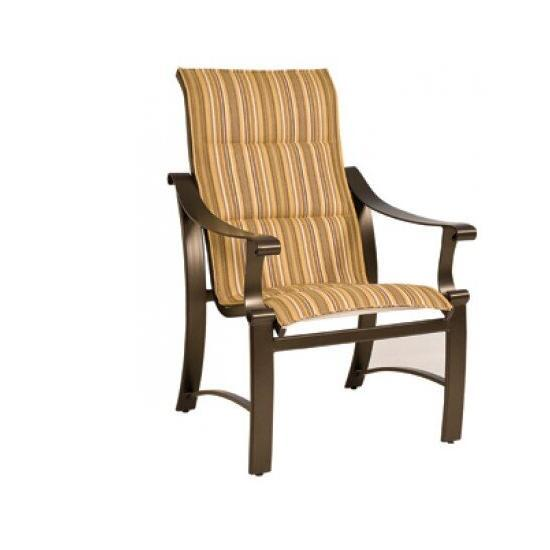 Bungalow Padded Sling High-Back Dining Arm Chair