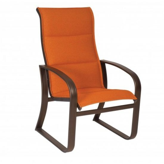 Cayman Isle Padded Sling High-Back Dining Arm Chair
