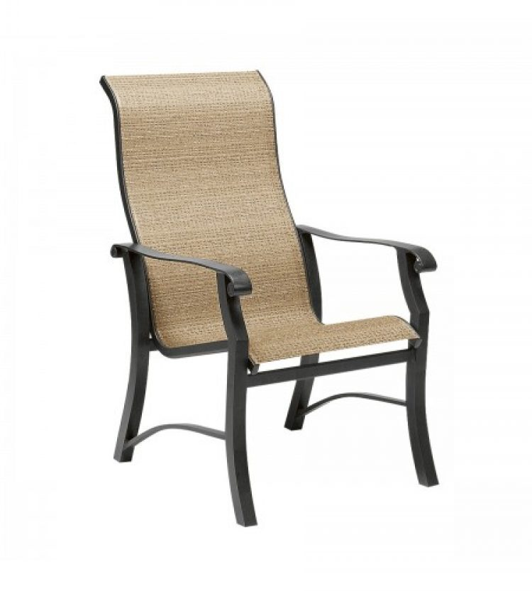 cortland sling high back dining arm chair
