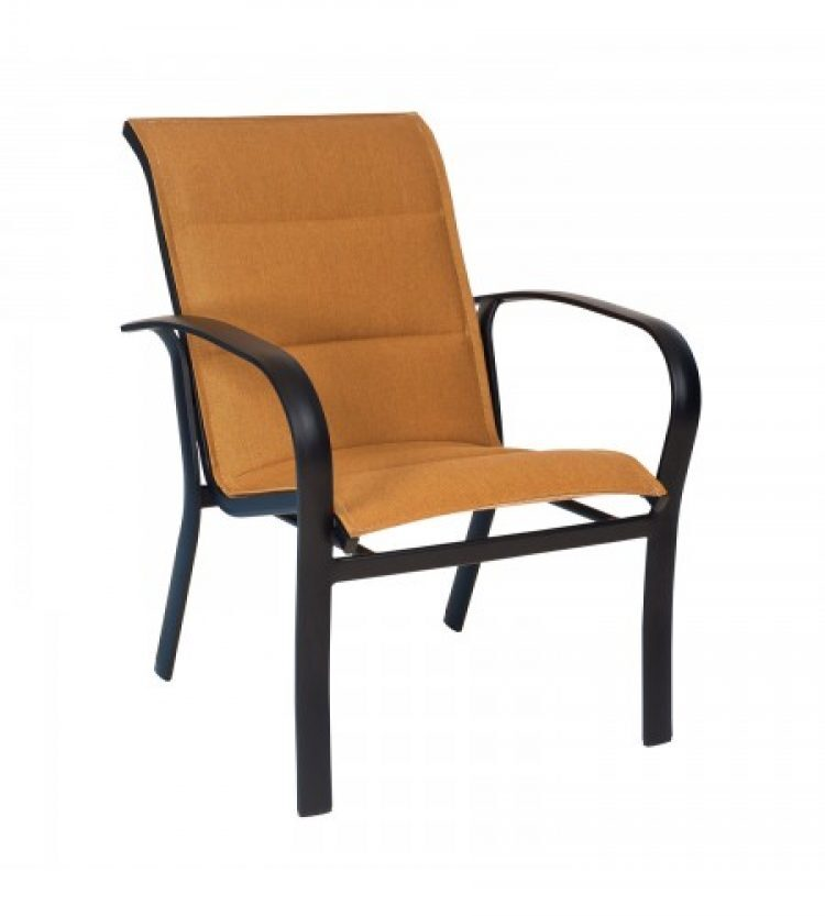 fremont padded sling dining arm chair stackable