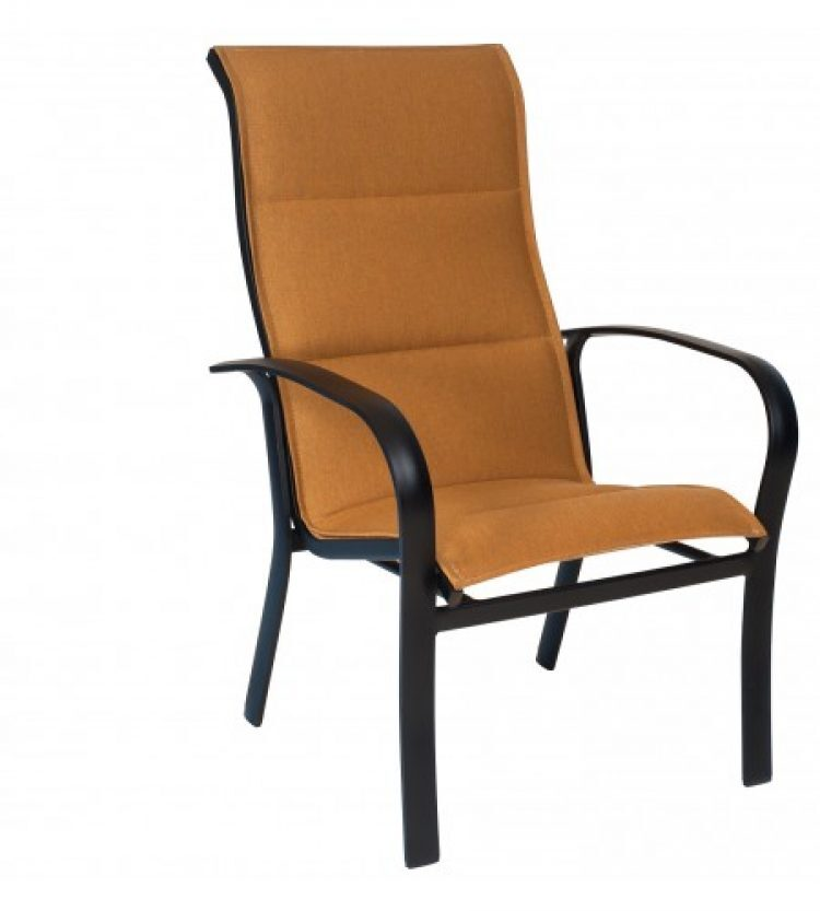fremont padded sling high back dining arm chair stackable