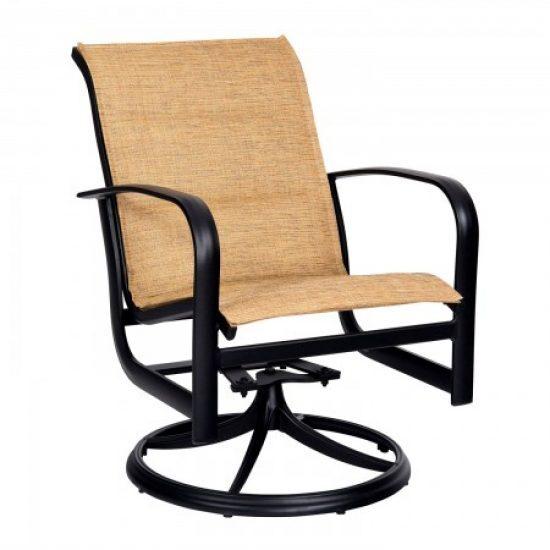 Fremont Padded Sling Swivel Rocker Dining Arm Chair